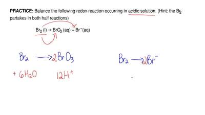 Balance the following redox reaction occurring in acidic solution. (Hint:the ...
