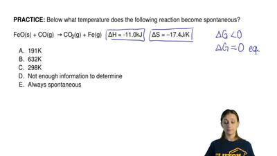 Below what temperature does the following reaction become spontaneous?  FeO(s)...