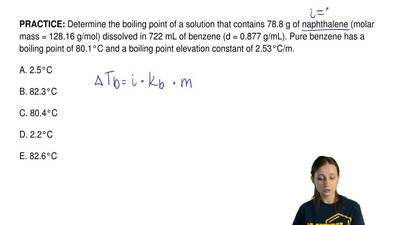 Determine the boiling point of a solution that contains 78.8 g of naphthalene ...