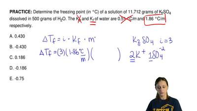 Determine the freezing point (in °C) of a solution of 11.712 grams of K 2SO4 d...