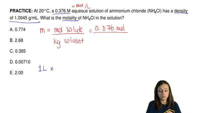 At 20°C, a 0.376 M aqueous solution of ammonium chloride (NH 4Cl) has a densit...