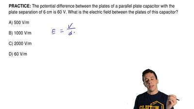 The potential difference between the plates of a parallel plate capacitor with...