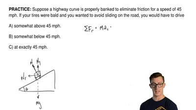 Suppose a highway curve is properly banked to eliminate friction for a speed o...