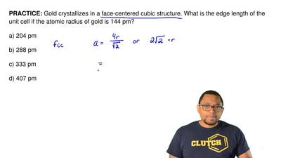Gold crystallizes in a face-centered cubic structure. What is the edge length ...