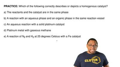 Which of the following correctly describes or depicts a homogenous catalyst?  ...