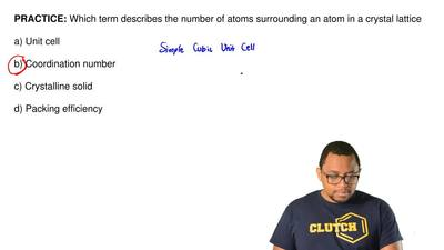 Which term describes the number of atoms surrounding an atom in a crystal latt...