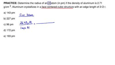 Determine the radius of an Al atom (in pm) if the density of aluminum is 2.71 ...