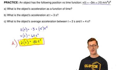 An object has the following position vs time function: x(t) = –3m + (15 m/s  4...