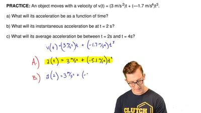 An object moves with a velocity of v(t) = (3 m/s  2)t + (—1.7 m/s4)t3.  a) Wha...