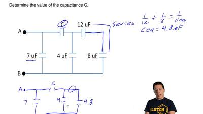 Consider the circuit of capacitors shown below. The equivalent capacitance of ...