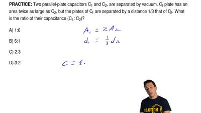 Two parallel-plate capacitors C1 and C2, are separated by vacuum. C1 plate has...
