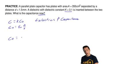 A parallel plate capacitor has plates with area A =350cm2separated by a dist...