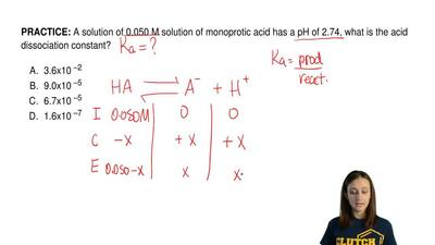 A solution of 0.050 M solution of monoprotic acid has a pH of 2.74, what is th...