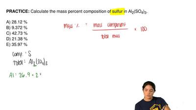Calculate the mass percent composition of sulfur in Al 2(SO4)3.  A) 28.12 % B)...
