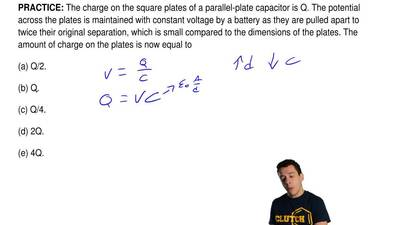 The charge on the square plates of a parallel-plate capacitor is Q. The potent...