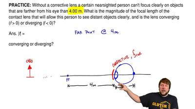 Without a corrective lens a certain nearsighted person can't focus clearly on ...