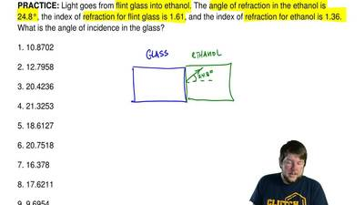 Light goes from flint glass into ethanol. The angle of refraction in the ethan...