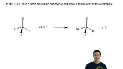 Place a circle around the nucleophile and place a square around the electrophi...