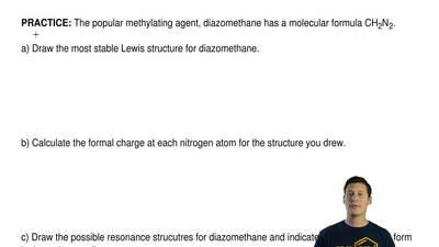 The popular methylating agent, diazomethane has a molecular formula CH2N2.  a...
