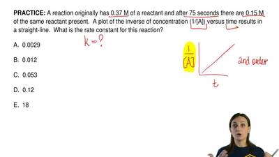 A reaction originally has 0.37 M of a reactant and after 75 seconds there are ...