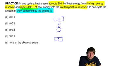 In one cycle a heat engine accepts 600 J of heat energy from the high energy r...