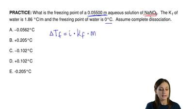 What is the freezing point of a 0.05500 m aqueous solution of NaNO 3.  The K f...