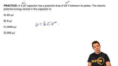 A 4-μF capacitor has a potential drop of 20 V between its plates. The electric...