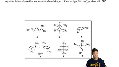 There are various molecules (A–F) drawn in different forms and projections. To...