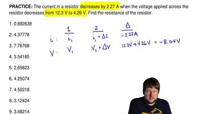 The current in a resistor decreases by 2.27 A when the voltage applied across ...