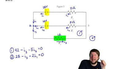 In Figure 3, consider the circuit sketched. The two batteries have negligible ...