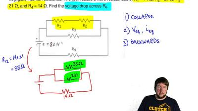 In the figure, consider the circuit sketched. The battery has emf ε = 80 volts...