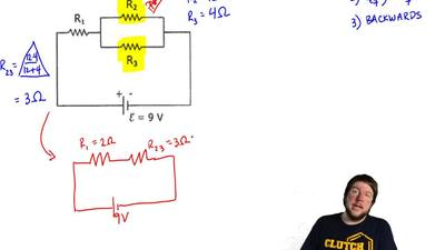 The circuit in the sketch consists of three resistors and a battery with emf ε...