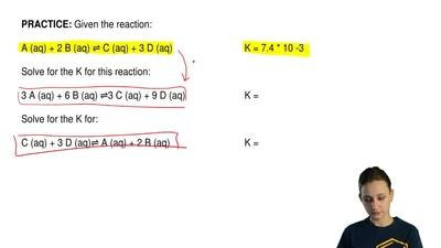 Given the reaction:  A (aq) + 2 B (aq) ⇌ C (aq) + 3 D (aq)                    ...