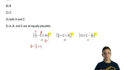 Which is the best Lewis structure of the thiocyanate ion, SCN− ?  A) A  B) B ...