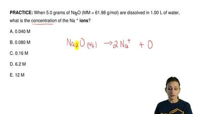 When 5.0 grams of Na2O (MM = 61.98 g/mol) are dissolved in 1.00 L of water, wh...