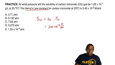 At what pressure will the solubility of carbon monoxide (CO) gas be 1.26 x 10 ...