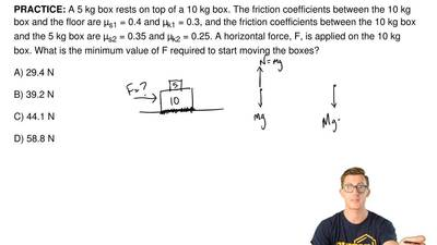 A 5 kg box rests on top of a 10 kg box. The friction coefficients between the ...