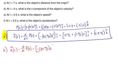 An object has the following position vector: r(t) = (3m – (14 m/s3)t3)i + ((15...