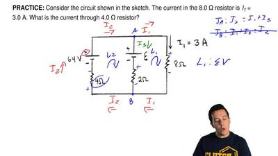 Consider the circuit shown in the sketch. The current in the 8.0 Ω resistor is...