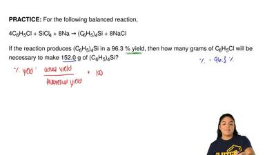 For the following balanced reaction,  4C6H5Cl + SiCl4 + 8Na → (C6H5)4Si + 8NaC...