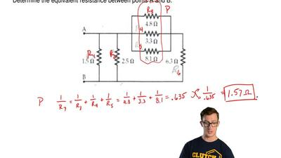 Consider the circuit of resistors below.   Determine the equivalent resistance...