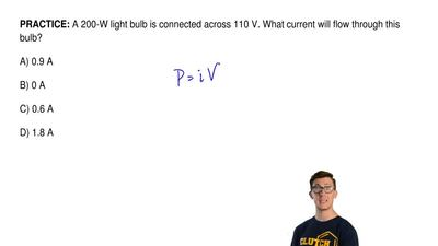 A 200-W light bulb is connected across 110 V. What current will flow through t...