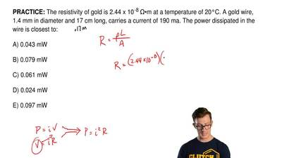 The resistivity of gold is 2.44 x 10 -8 Ω•m at a temperature of 20°C. A gold w...