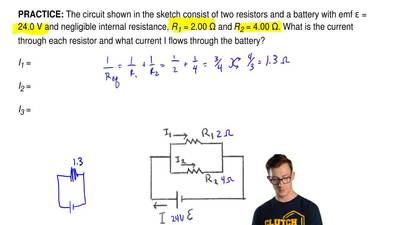 The circuit shown in the sketch consist of two resistors and a battery with em...