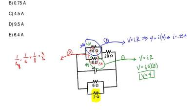 The current of the circuit in the 8 ohm resistor is 0.5 A. What is the current...