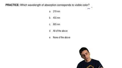 Which wavelength of absorption corresponds to visible color? ...