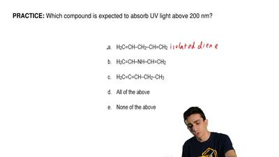 Which compound is expected to absorb UV light above 200 nm?    ...
