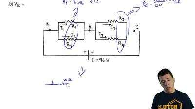 Consider the circuit shown in the sketch. R1 = 3.0 Ω, R2 = 6.0 Ω, R3 = 6.0 Ω. ...