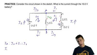 Consider the circuit shown in the sketch. What is the current through the 10.0...