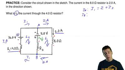 Consider the circuit shown in the sketch. The current in the 8.0 Ωresistor is...
